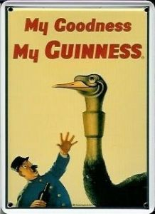 Guinness Ostrich metal postcard / mini sign  (hi)